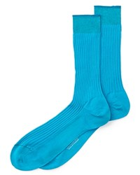 Turnbull And Asser Cotton Mid Calf Socks Bright Turquoise