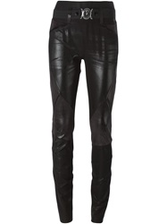 High Faux Leather Trousers Black