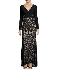 Betsy And Adam Floral Applique Sleeveless Sheath Gown Black Gold