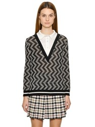 M Missoni Cotton Viscose Blend Knit Polo Sweater