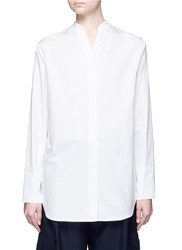 Tibi Dip Hem Cotton Poplin Collarless Shirt White
