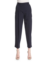 Dkny Cuffed High Rise Pinstripe Ankle Pants Classic Navy