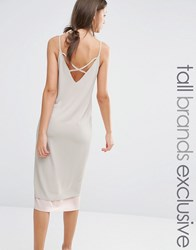 Alter Tall Colour Block Strappy Midi Cami Slip Dress With Back Detail Nude Pink