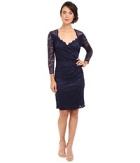 Rsvp Short Margaux Lace 3 4 Sleeve Dress Navy Women's Dress
