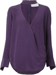 Strateas Carlucci Cross Front Blouse Pink And Purple