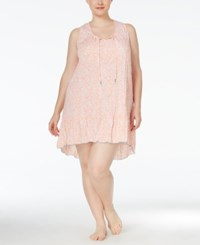 Ellen Tracy Plus Size High Low Hem Nightgown White Peach