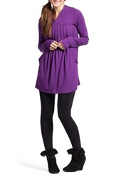 Women's Savi Mom Hooded Pleated Maternity Nursing Tunic Purple