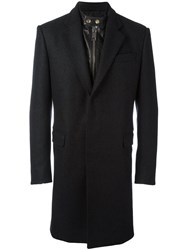 Les Hommes Layered Effect Mixed Media Coat Grey