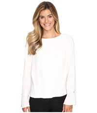 Vince Camuto Flutter Cuff Fold Over Blouse New Ivory Women's Blouse Bone