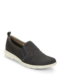 The Flexx Lights Perforated Leather Slip On Sneakers Black