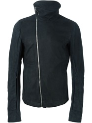 Rick Owens Funnel Neck Biker Jacket Blue