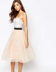 Rare London Lace Prom Midi Dress With Tulle Skirt Multi