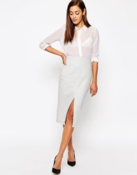 Asos Linen Pencil Skirt With Pocket Detail Silver