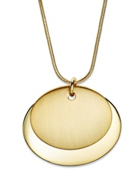 Charter Club Gold Tone Oval Pendant Necklace