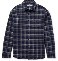 Outerknown Eugene Checked Organic Cotton Flannel Hirt Navy