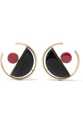 Marni Gold Plated Acrylic Earrings Black Burgundy