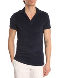 Orlebar Brown Navy Terry Cloth Polo Shirt