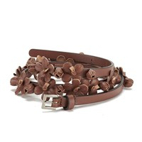 Red Valentino Redvalentino Women's Floral Leather Belt Tan