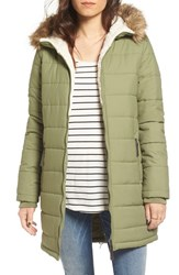 Maralyn And Me Women's Quilted Hooded Coat With Faux Fur Trim Olive