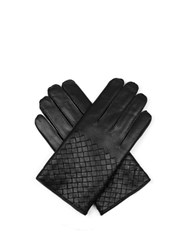Bottega Veneta Half Intrecciato Leather Gloves Black