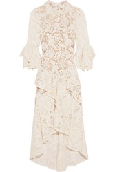 Rebecca Vallance The Society Ruffled Guipure Lace Dress Ivory