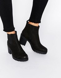 Vagabond Grace Black Leather Ankle Boots Black Nubuck