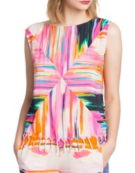 Plenty By Tracy Reese Fringed Tassel Painterly Muscle Tee Sunset