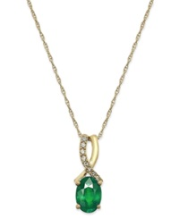 Macy's Emerald 3 4 Ct. T.W. And Diamond Accent Oval Pendant Necklace In 14K Gold Green
