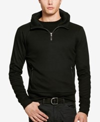Polo Ralph Lauren Men's Leather Trim Half Zip Pullover Polo Black