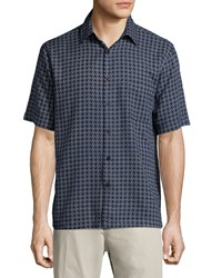Neiman Marcus Line Print Short Sleeve Shirt Dark Navy