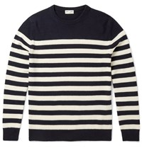 Saint Laurent Slim Fit Striped Cashmere Sweater Blue