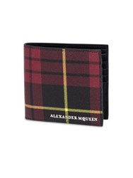 Alexander Mcqueen Plaid Calfskin Leather Billfold Wallet Red Black