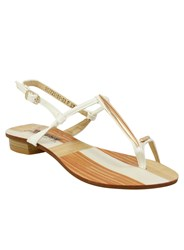 Betsy Toe Loop Sandals White