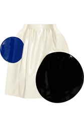 Junya Watanabe Color Block Faux Leather Midi Skirt