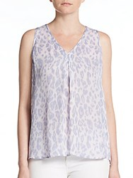 Joie Printed Silk Blouse Icy Lilac