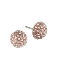 Lonna And Lilly 1.5Mm Simulated Pearl Rose Goldtone Button Stud Earrings