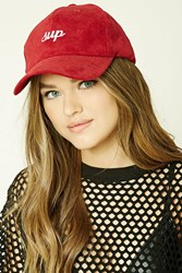 Forever 21 Sup Embroidered Cap Burgundy