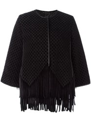 Giorgio Armani Flared Sleeves Fringed Jacket Black