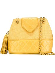 Chanel Vintage Bucket Shoulder Bag Yellow And Orange