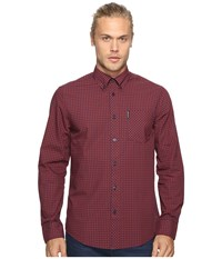 Ben Sherman Long Sleeve Gingham Woven Shirt Rust Orange Men's Long Sleeve Button Up Brown