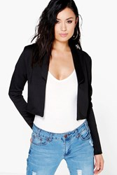 Boohoo Crop Collared Blazer Black