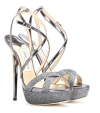 Jimmy Choo Memento Liddie 145 Leather And Glitter Sandals Grey