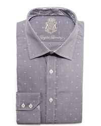 English Laundry Neat Check Dress Shirt Grey