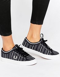 Fred Perry Kendrick Tipped Cuff Canvas Retro Stripe Navy Trainers Navy Grey
