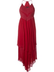 Jay Ahr Handkerchief Maxi Dress Red