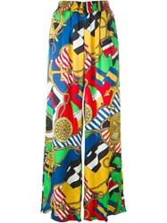 Love Moschino Nautical Theme Print Palazzo Trousers Multicolour