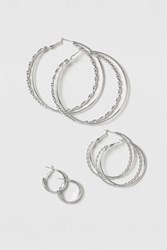 Topshop Twisted Hoop Set Silver