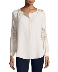 Neiman Marcus Lace Inset Peasant Tunic Tan