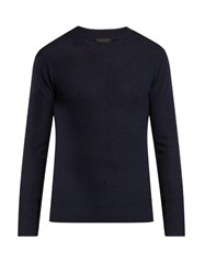 Atm Anthony Thomas Melillo Felt Panel Wool Sweater Navy