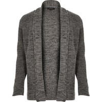 River Island Mens Grey Textured Open Front Cardigan